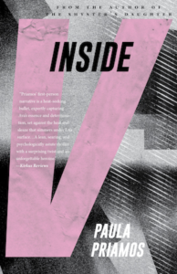 "Cover of Inside V by Paula Priamos; ""Inside"" in small letters on top, giant ""V"" takes up most of the cover"