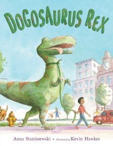 Cover of Dogosaurus Rex by Anna Staniszewki; boy walking with a leashed T. Rex