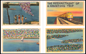 Four picture set clockwise from top left; women swimming; train running over water; river running through a field of flowers; sailboats in water