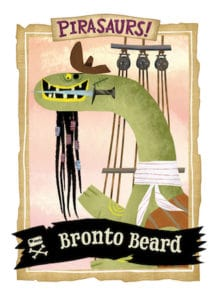 Bearded brontosaurus dressed as a pirate