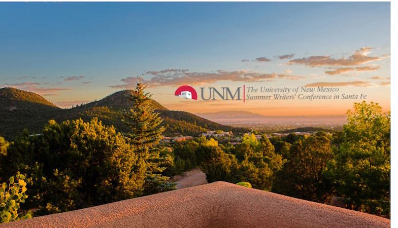 University of New Mexico Summer Writers' Conference in Santa Fe logo, skyline with logo