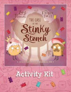 The Case of the Stinky Stench activity kit; similar to book cover, but with activity kit written below picture
