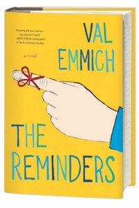 Cover of The Reminders by Val Emmich; string tied around pointing index finger of a white hand