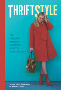 Cover of ThriftStyle by Allison Engel, Reise Moore, and Margaret Engel; Woman in a red coat holding a multi-colored purse in front of a blue background with a red line in the left margin